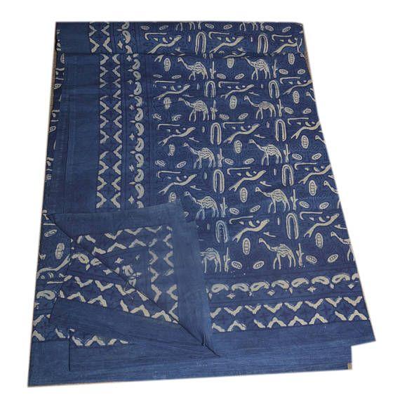 Cotton Indigo Queen Bed Sheet, Hand Block Printed Bed Cover, Printed Bedspread