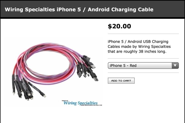 IPhone 5 / Android USB charging cables made by Wiring Specialties that are roughly 38 inches long. http://matsbaribeau.bigcartel.com/product/wiring-specialties-iphone-5-android-charging-cable
