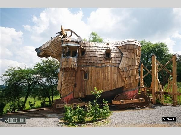 La Balade des Gnomes  Heyd Nr Durbuy, Wallonia, Belgium: A boutique hotle with fairytale rooms and a Trojan Horse Suite. via unusualhotelsoftheworld. #Hotel #Belgium #La_Balade_des_Gnomes