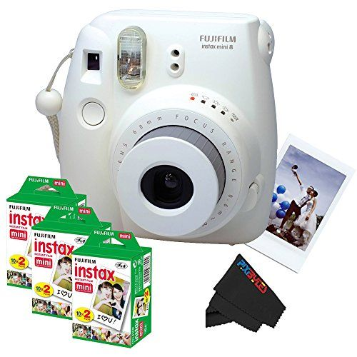 Fujifilm Instax Mini 8 Instant Film Camera (White)   (3) Fujifilm INSTAX Mini Instant Film (Twin Pack)   PixiBytes Exclusive Cleaning Cloth ** Continue to the product at the image link.