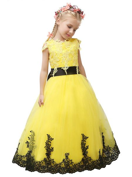 Toddler's Pageant Dress Princess Yellow Flower Girl Dress Tulle Lace Applique Bow Sash Maxi Junior Bridesmaid Dress