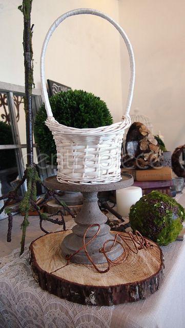 Flower Girl Basket White Short Handle