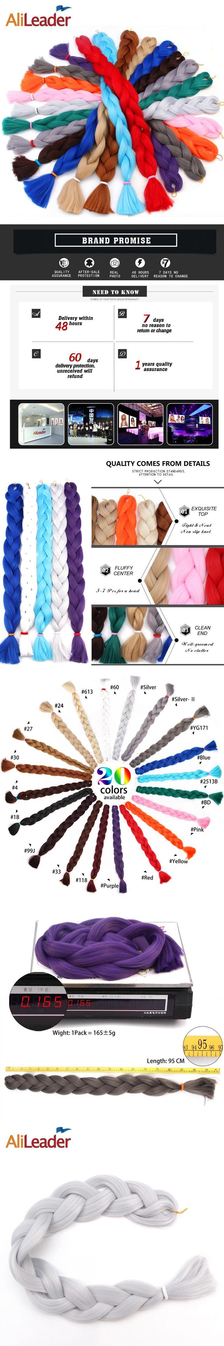 AliLeader Kanekalon Braiding Hair Crochet Twist Jumbo Braids Synthetic Hair Weave 36 Inch  165 Gram 1-10pcs/Lot Purple Pink Blue