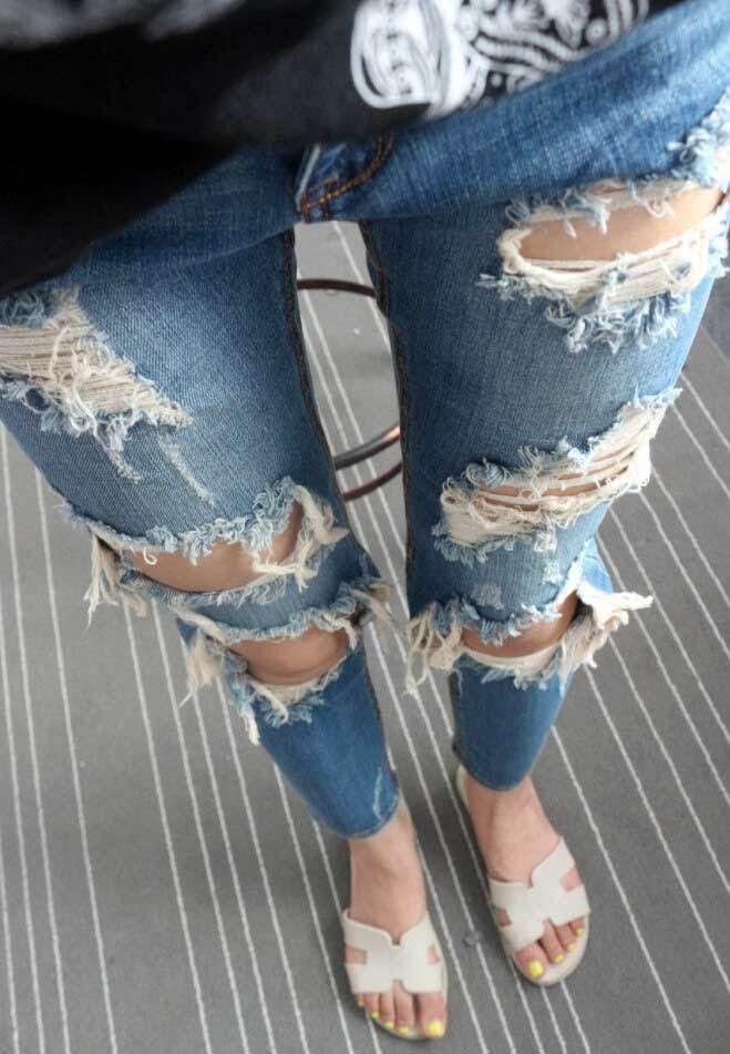 Holes Beggar Ripped Straight High Waist Jeans