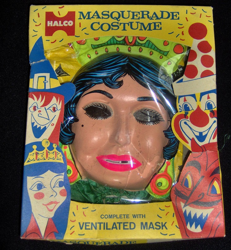 vintage halco gypsy girl halloween mask and costume in box masquerade 1960s - Girl Halloween Masks