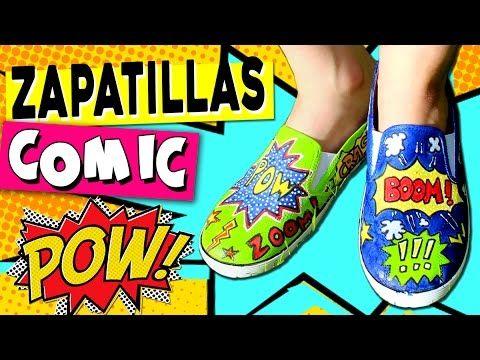 ZAPATILLAS decoradas estilo COMIC o POP Art * Manualidades de VERANO pa...