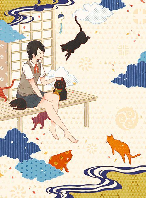 ポプラ社『千福万来! まねき猫事件ノート 化け猫の夏、初恋の夏』(著:水生大海) 装画 I drew the cover illustration for the novel by Hiromi Mizuki, published by Poplar publishing. Previous work