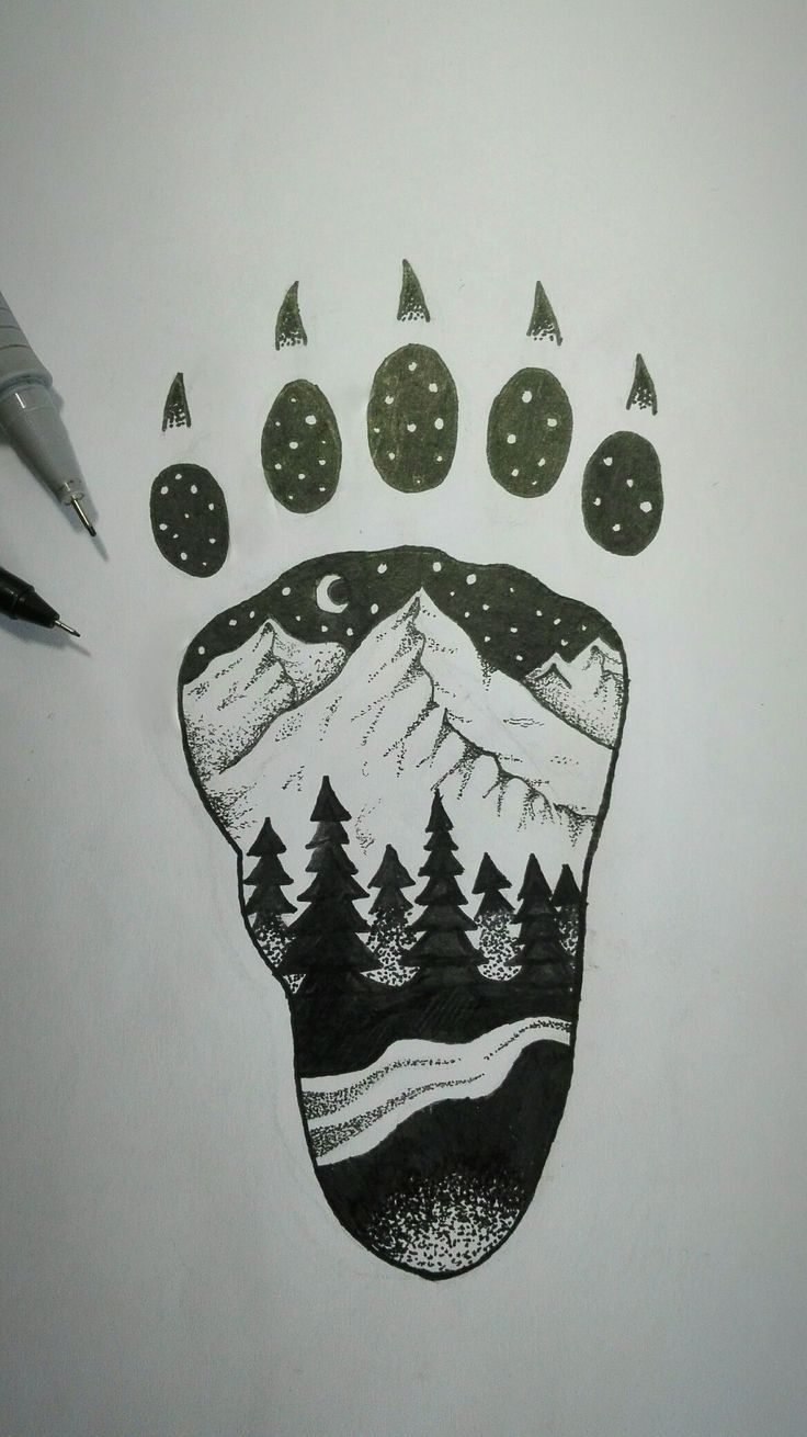 Mountains, trees, forest, night, moon, river, stars, black, pen
