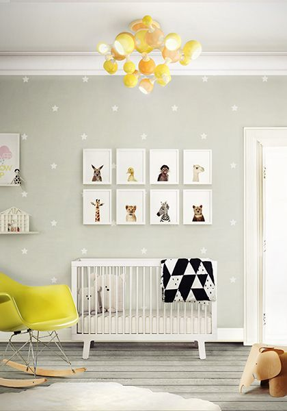 Atomic Sputnik Yellow Chandelier for a Modern and colourful kids room http://www.delightfull.eu/