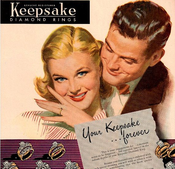 Vintage wedding engagement ring advertisement #retro #diamonds