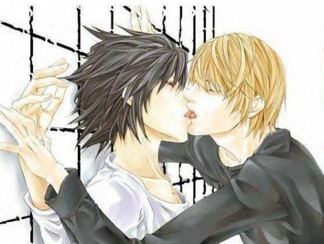 Death Note Yaoi L X Light Hot Kiss | Death Note Yaoi ...