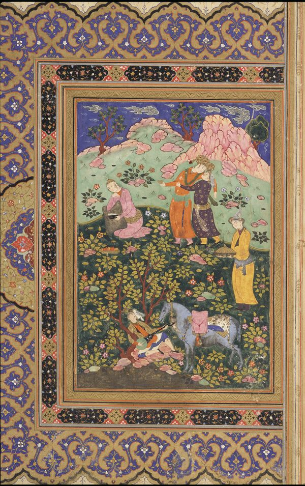 Folio from an album; recto: A prince feasts | 1630s | Opaque watercolor, ink, and gold on paper; H: 39.9 W: 26.3 cm; Isfahan, Iran