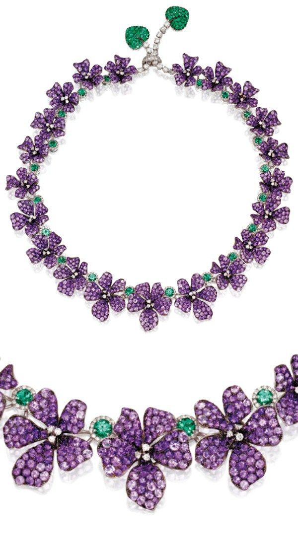 amethyst and emerald violet necklace michele