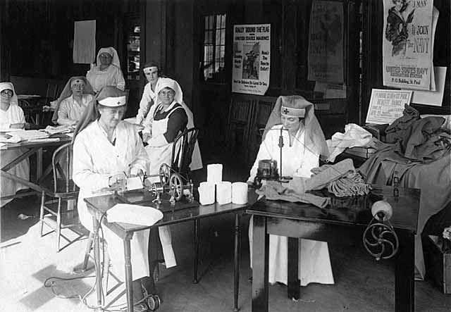 Knitting History Society : Operating bandage roller and knitting machine at navy