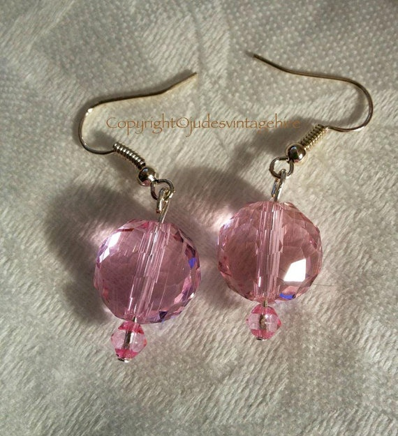 Hand made pretty pale pink swarovski crystal by judesvintage, £5.99