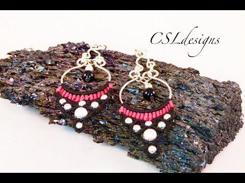 Micro macrame chandelier earrings - YouTube