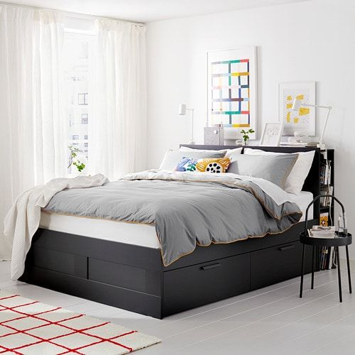 Brimnes Bed Frame With Storage Headboard Black Luroy Queen Ikea Headboard Storage Bed Frame With Storage Bed Frame With Drawers