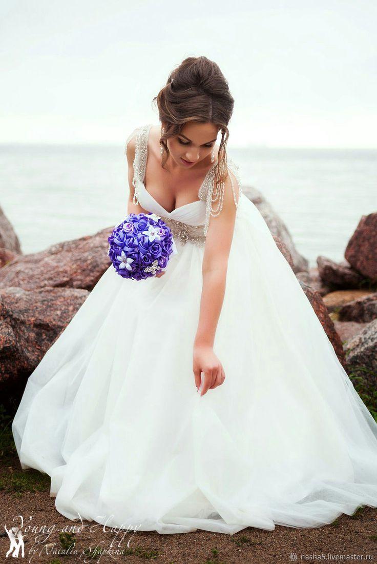 Buy The bride's bouquet satin rose on Livemaster online shop