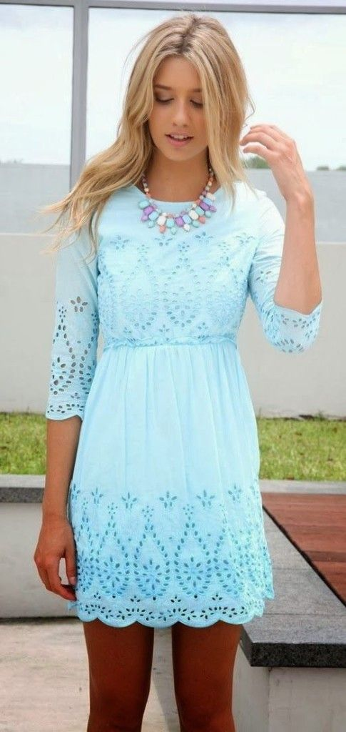 cyan summer necklace Adorable mini dress apparel fashion outfit clothing women style | Gloss Fashionista