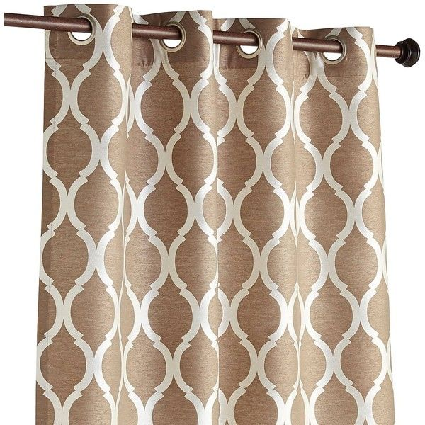 """Pier 1 Imports Moorish Tile Taupe 108"""" Grommet Curtain (740 MXN) ❤ liked on Polyvore featuring home, home decor, window treatments, curtains, brown, lining curtains, jacquard curtains, light brown curtains, grommet curtains and grommet window treatments"""