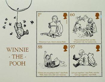 こちらはおなじみプーさんの切手です。イギリスで発行されました。