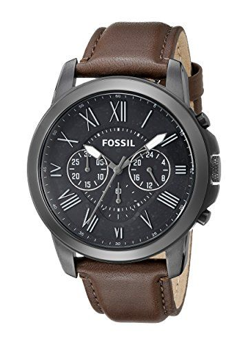 Fossil Men's FS4885 Grant Gunmetal-Tone Stainless Steel Watch with Brown Leather Band Fossil