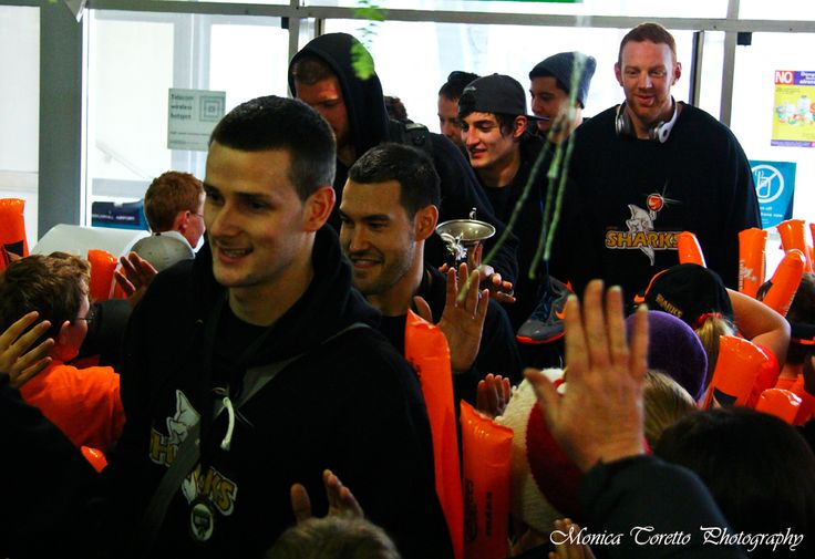 Southland Sharks, Champions of the 2013 NBL arrive back in Invercargill to a warm welcome by supporters. July 15, 2013.