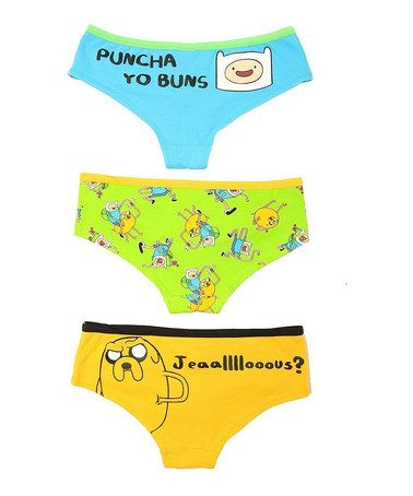 Love this Blue & Yellow Adventure Time 'Puncha Yo Buns' Briefs Set by Undergirl on #zulily! #zulilyfinds