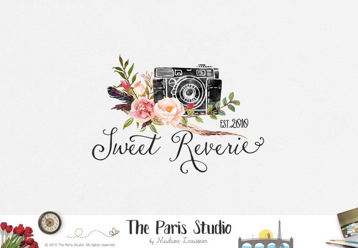 Watercolor Camera Logo Design - photography logo, website logo, boutique logo, creative business branding or small business logo.