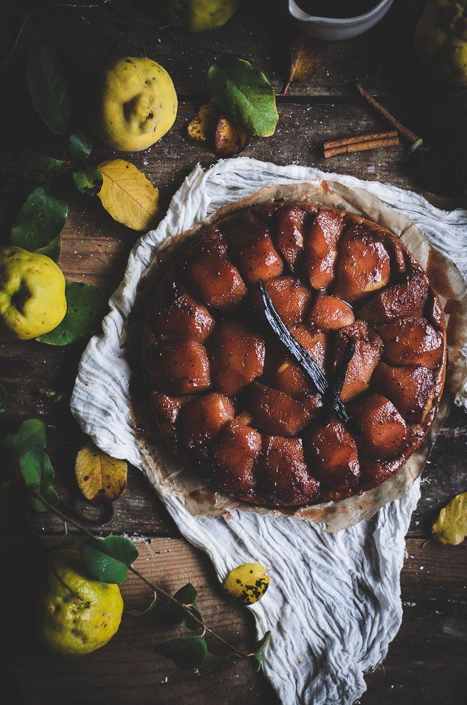 Poached quince tart tatin