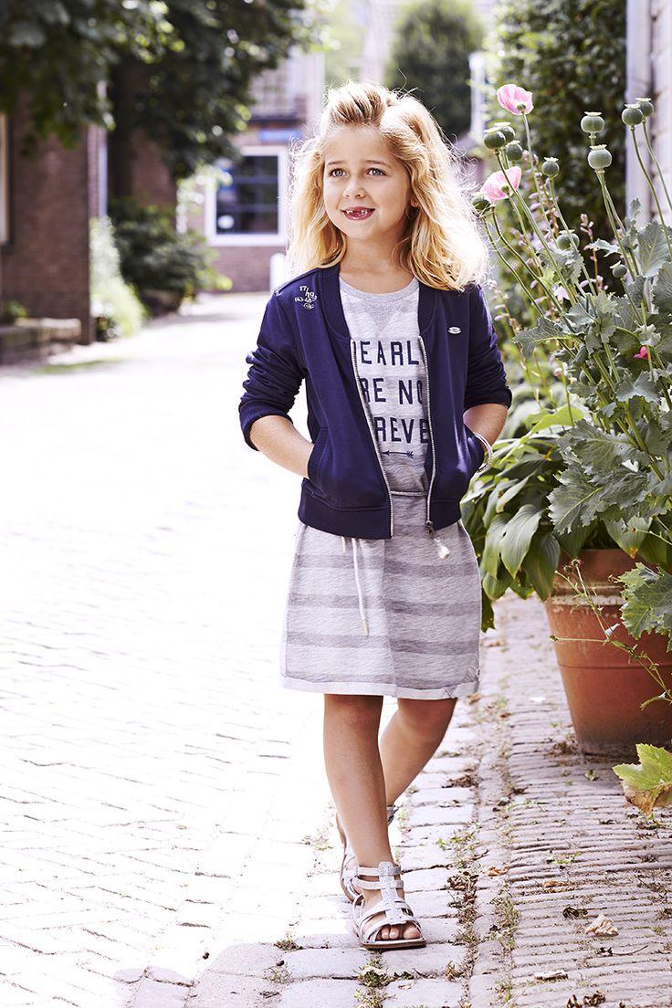 #Baker Bridge #Summer 2015, printed stripe girls jersey dress, grey melange, short sleeves #Dindy, blue girls sweat bomber #Motella