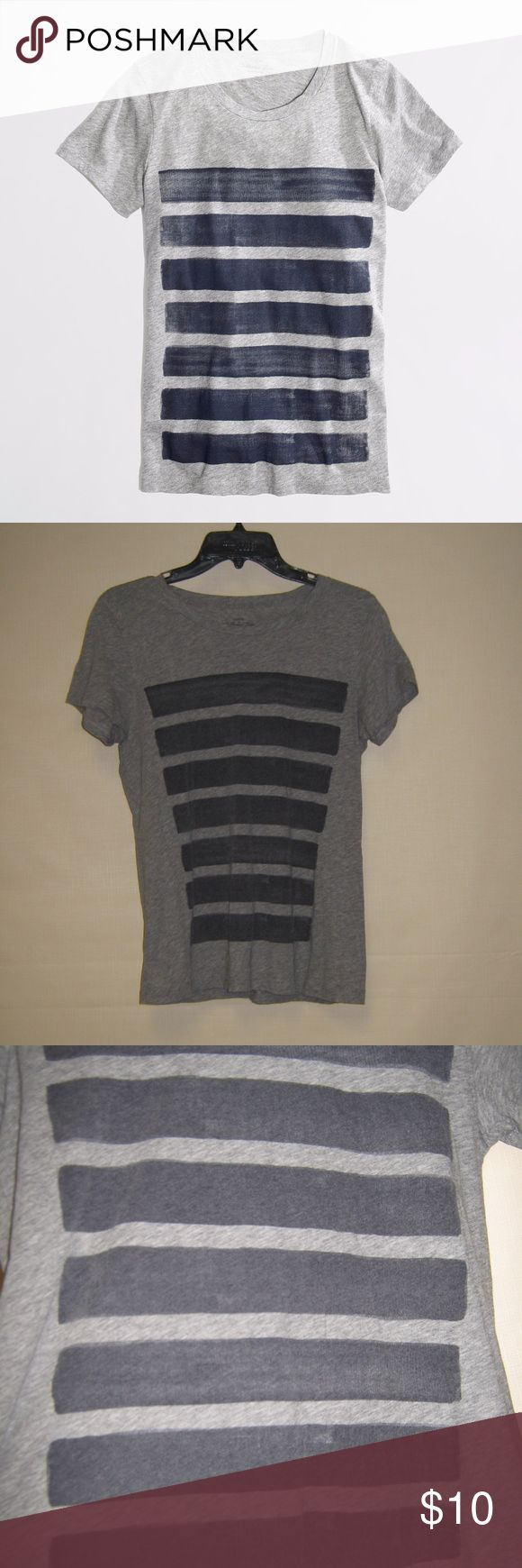 """JCrew Factory Heathered Bar Stripe Collector Tee M J Crew """"Collector's tee"""" in heathered gray, faded blue stripes on front as part of the design. EUC. Super soft and comfy.  Smoke free, pet free home, offers welcome! J. Crew Factory Tops Tees - Short Sleeve"""