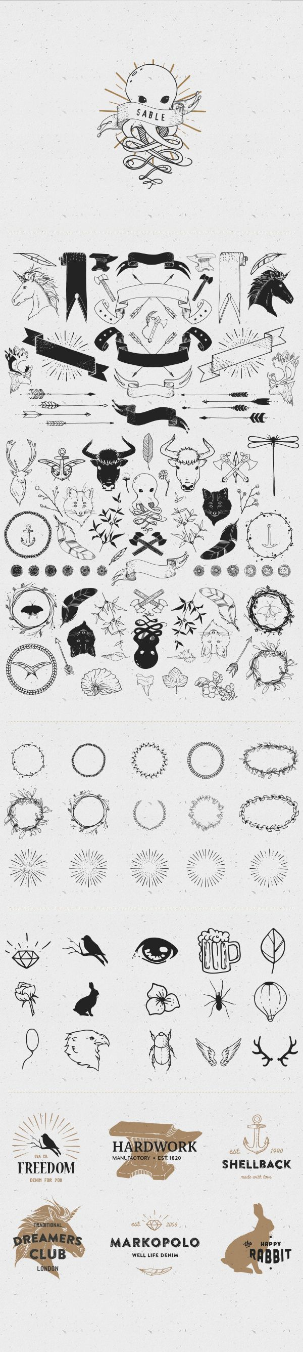 Vector hand-sketched kit, that includes about 100+ unique shapes like arrows, frames, leaves, decoration elements and even some magic creatures. In the package you will find elements for creating logos, labels, prints, patterns, greeting cards and many ot…