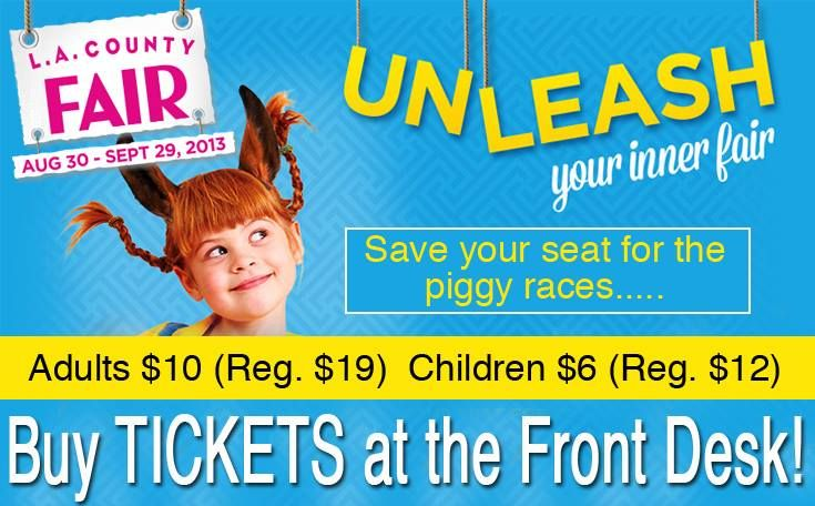 You can purchase discounted LA County Fair Tickets at The Claremont Club!