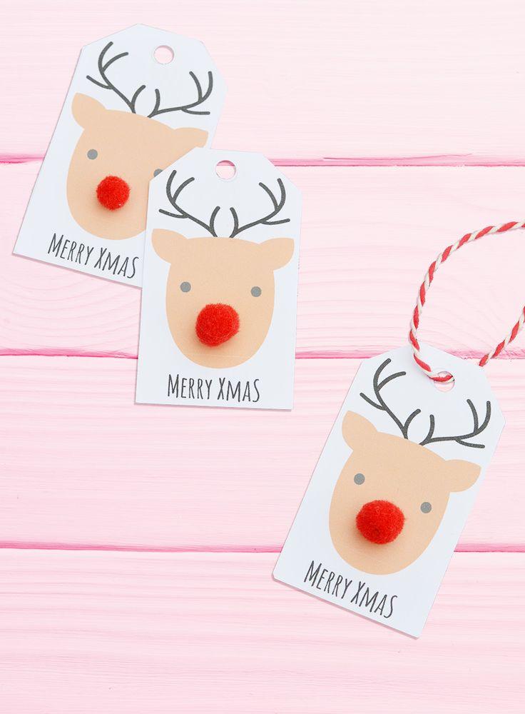 Bastel einen süßen Rudolf Rentier Anhänger zu Weihnachten * mit roter Pompom Nase * Ganz einfach mit der kostenlosen Bastelvorlage von Minidrops >>>