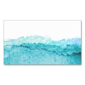 Modern blue ombre watercolor ocean waves business card