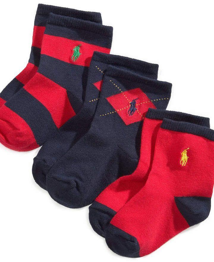 hot sale online a1a00 fadff Polo Ralph Lauren Ralph Lauren Baby Boys Argyle Crew Socks 3-Pack