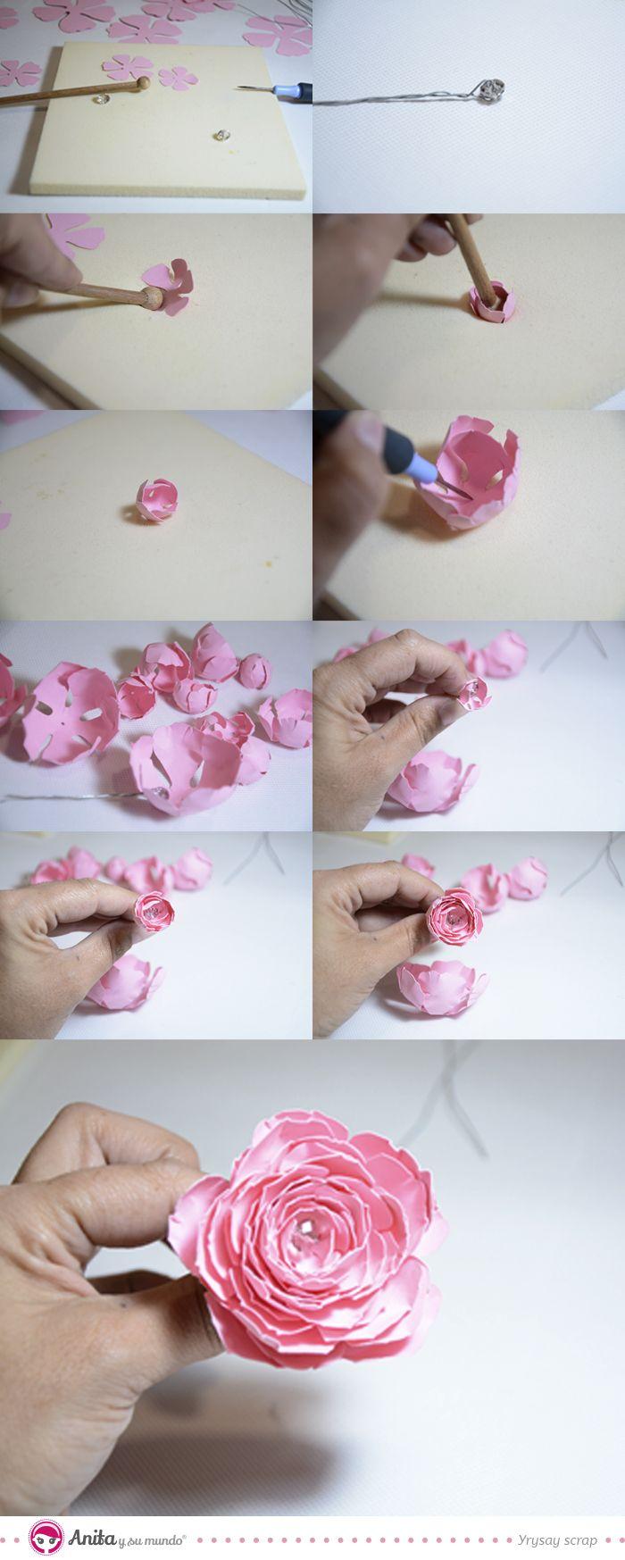 Cómo hacer una peonia de papel. Peonia de papel fácil. Flores de papel. DIY: cómo hacer flores. Cómo hacer Peonias. Manualidades fáciles. Manualidades con papel. Papercraft. Paper flowers. Flor origami. Scrapbooking.