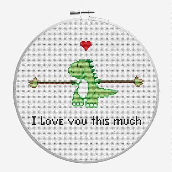 Funny Valentine Days Cross Stitch PDF Pattern T-rex I love you this much, Cute Dinosaur,Birthday, love card.