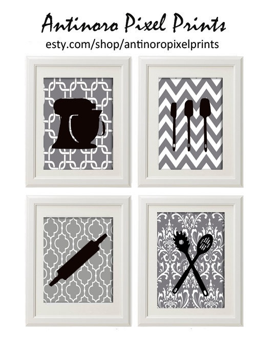 Items Similar To Red Black White Greys Unframed Kitchen Utensils Art  Collection  Set Of   Prints On Etsy