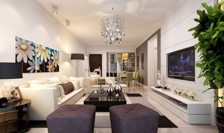 Rectangular Living Room Design Ideas with white wall and white sofa also white ceramic floor