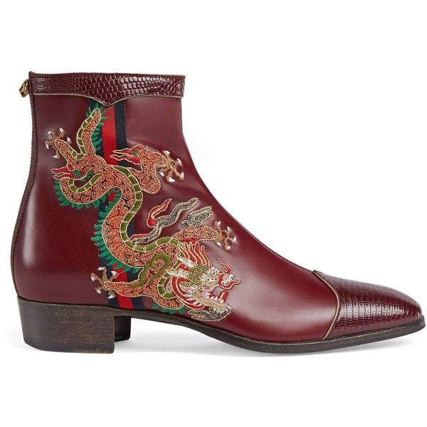 Gucci Leather Boot With Dragon ($1,905) ❤ liked on Polyvore featuring men's fashion, men's shoes, men's boots, boots, men, shoes, mens side zipper boots, mens side zip boots, mens pointed toe shoes and mens leather sole shoes