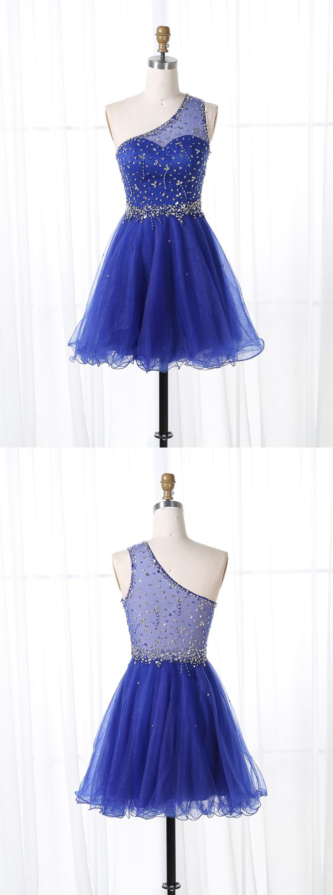 one shoulder short homecoming dresses,royal blua tulle prom dress,beaded party dress for teens,cheap cocktail dresses