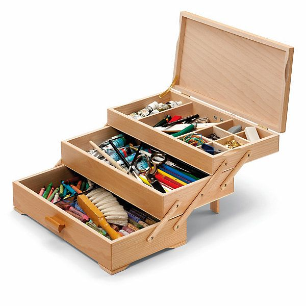 Beechwood, painted on the outside. Upper drawer sub-divided into 6 smaller and 2 larger compartments. A small stilt... - Sewing Box with 3 Drawers