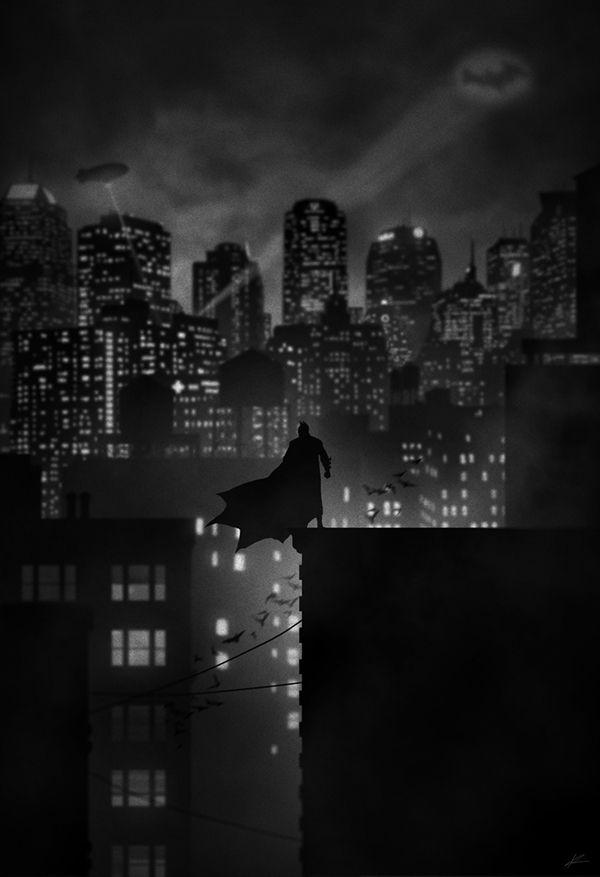 ilustraciones noir batman Noir: Proyecto de ilustraciones blanco y negro con siluetas por Marko Manev