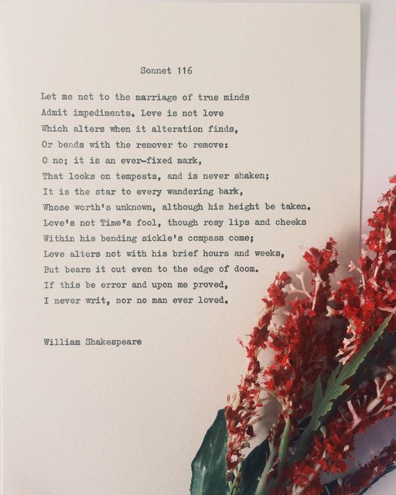 Shakespeare Sonnet 116/ love poem/ wedding by BookishGifts on Etsy