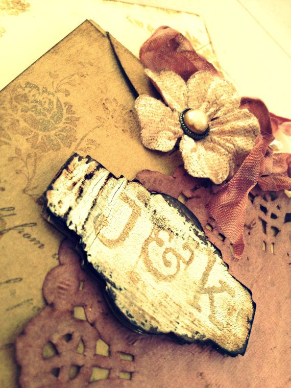 Vintage Wedding Invitation Handmade Hand stamped shabby country chic Country Chic on Etsy, $9.29 AUD