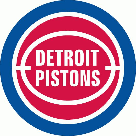 NBA Detroit Pistons Primary Logo (1980) - Detroit Pistons in white on red ball, with white lines in a blue ring