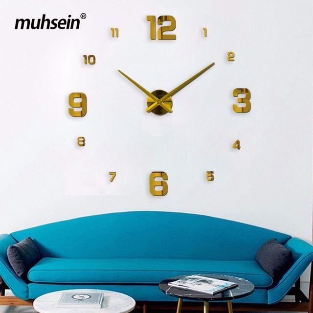 2019muhsein New 3d Real Big Wall Clock Modern Design Rushed Quartz Clocks Fashion Watches Mirror S Big Wall Clocks Diy Living Room Decor Large Wall Clock Decor