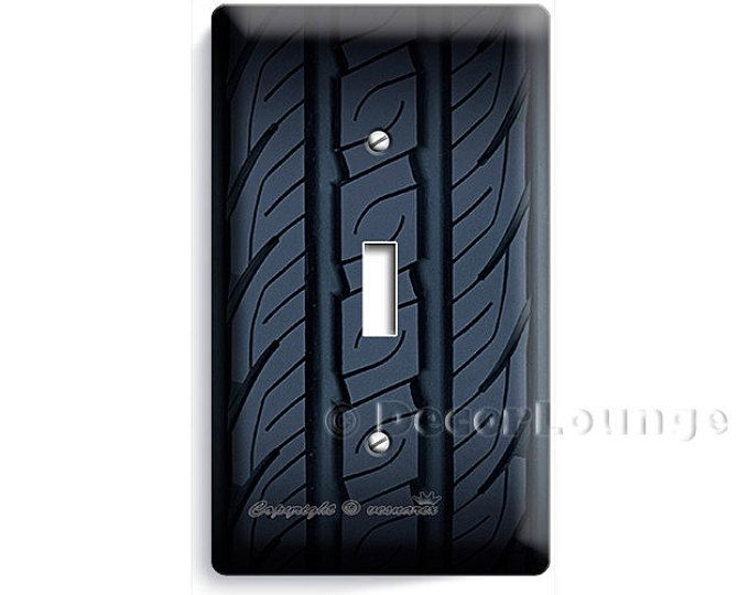 Speed racing sport car truck tire design single light switch cover wall plate kids boys bedroom game tv room man cave garage home decor art
